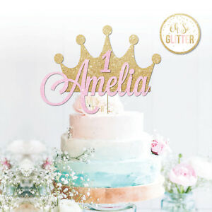 Custom Crown Cake Topper Glitter Topper Crown Cake Personalised Age princess 1,2