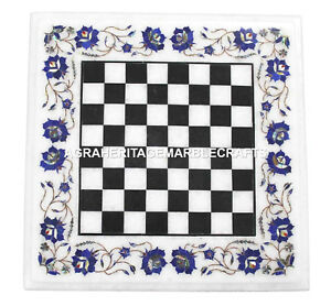 Marble Coffee Chess Table Top Mosaic Lapis Inlay Stone Mosaic Patio Decor H1453