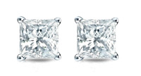 1/2 Ct Diamond Stud Earrings Princess Cut Solitaire Earrings 14K White Gold