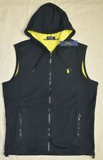 $125 New XL POLO RALPH LAUREN Mens Fleece vest Black hooded body warmer X-Large