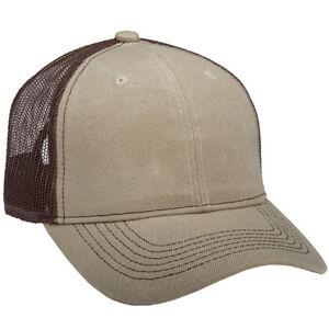 1 Dozen (12) Khaki / Brown Blank Classic Trucker Hats Acrylic Twill / Mesh