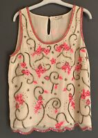 BEADED CREAM PINK TOP MISS SELFRIDGE 10 PARTY SUMMER SLEEVELESS PRETTY GLAM CHIC