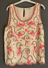 BEADED CREAM PINK TOP MISS SELFRIDGE 10 PARTY SUMMER SLEEVELESS PRETTY