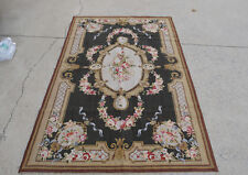 4' X 6' Beautiful Floral Needlepoint Handmade French Rug Invisible Green Brown