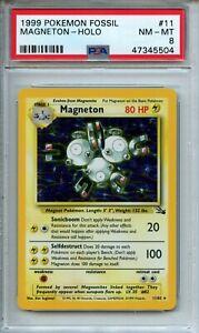 Pokemon Fossil Unlimited Magneton 11/62 Holo Rare PSA 8 NM - MT