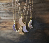 Gold Druzy Crescent Moon Agate Druzy Gemstone 14k Gold Filled Pendant Necklace