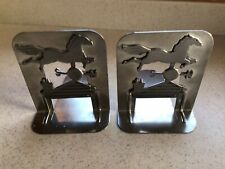 Vintage Book Ends Horse Weather Vane On House Pewter 1980 Metzke