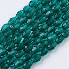 70pcs Teal Faceted Glass Bead Loose Spacer Drop Beads Jewelry Making Finding