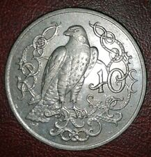 1922 MUNSTERBERG PRUSSIA PORCELAIN NOTGELD 2 MARK UNC BIRD /& CASTLE SIZE = 3 CMS