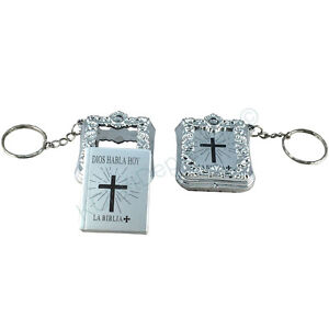 Mini Key Chain English Holy Bible, Spanish Dios Habla Hoy Religious Gift Baptism
