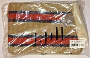 New J. Jill Jute Pouch Bag Case One Size Brown Blue Orange Stripe Tassel $39 NWT