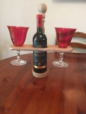 Handcrafted Single Wine Bottle Holder And 2 Glasses New
