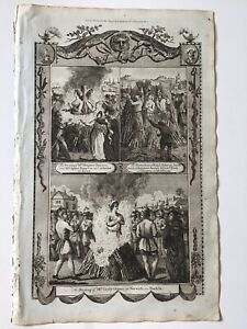 Martyrdom, 1784 Antique Print, Religion, Mrs Cicely Ormes Norwich Burnt At Stake