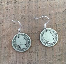 Barber DIME 90% SILVER VINTAGE Coin Jewelry EARRINGS With .925 Earwires!