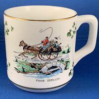 """Carrigaline Pottery Ireland Horse Wagon Scene Porcelain 3 1/2"""" Mug Shamrock"""