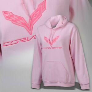 2014-2019 Corvette C7 Women's Pink Hooded Sweatshirt w/ Logo & Script 637704
