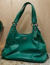 Coach Teal Green Patent Leather Sateen Lined Satchel Carry All Bag #14331