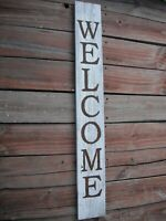 """Large Wood Door Sign WELCOME  Porch Vertical Weathered Farmhouse 44"""" Tall"""