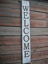 "Large Wood Door Sign WELCOME  Porch Vertical Weathered Farmhouse 40"" Tall"