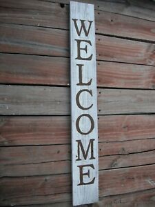 "Large Wood Door Sign WELCOME  Porch Vertical Weathered Farmhouse 48"" Tall 4 FT"