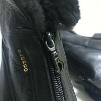 Blondo Black Leather Ankle Boot Womens 8.5 D Waterproof Shearling Fur Zip Canada