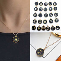 A-Z Letter Round Alphabet Pendant Necklace Chain Women Girls Charm Jewelry Gift