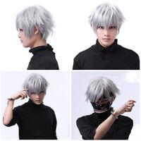 30cm White Ghoul Kaneki Tokyo Ken Short Hair Silver Straight Hair Wig Cosplay US