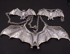 "26"" 71g HUGE BAT BATMAN VAMPIRE 925 STERLING SOLID SILVER ART MENS NECKLACE PRE"