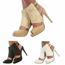 Stiletto Peep Toes Synthetic Leather Shoes for Women