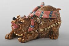 Bear Trinket box by Keren Kopal Faberge Egg Swarovski Crystal Jewelry Box