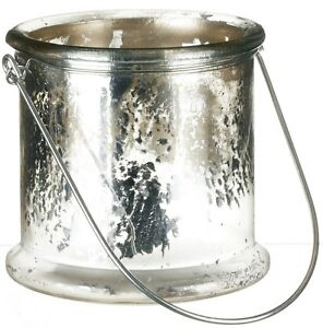 NWT Frosty SILVER GLASS BUCKET Christmas Candle Holder Valentine VASE Metal Bale