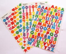 NO 134 SCRAPBOOKING - 240 + SMALL ALPHABET / LETTERS, NUMBERS & SHAPE STICKERS
