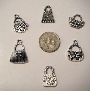 6 asst tibetan silver handbag charms