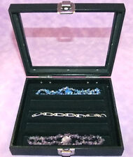 NECKLACE/BRACELET GLASS TOP JEWELRY DISPLAY CASE BLK