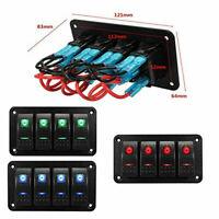 4 Gang Rocker Switch Panel Blue LED Light For 12V-24V Car Marine Boat Camper RV