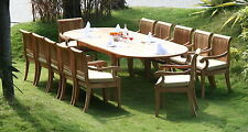 """Giva 13-pc Outdoor Teak Dining Patio: 117"""" Oval Extension Table, 12 Arm Chairs"""