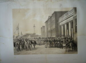 GRANDE LITHO SCENE ROI LOUIS PHILIPPE ORLEANS REINE VICTORIA ANGLETERRE 1846 K
