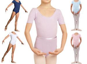 Dance Depot Girls / Womens Amy Cotton Lycra Belted Sleeved Leotard All Colours
