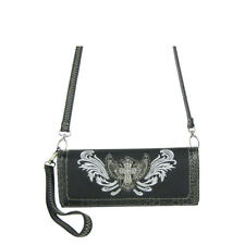BLACK CROSS WITH WINGS LOOK CLUTCH TRIFOLD WALLET WITH SHOULDER AND WRIST STRAP