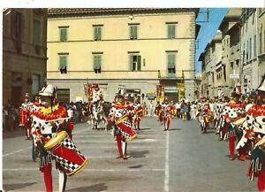 Cartolina AREZZO GIOSTRA DEL SARACINO corteo in PIAZZA S.FRANCESCO anni '70