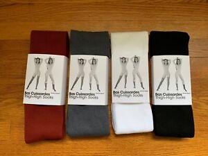 Vtg. American Apparel Thigh High Socks Polyester-Paprika,Asphalt,White,Black