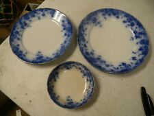 """3-Atq Flo-Blue VERMONT, Mfg. in England, Plate 9"""" D. 8"""" D , & Small Bowl 5"""" D."""