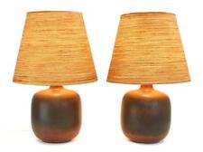 PAIR OF GUNNER LOTTE BOSTLUND LARGE BROWN TABLE LAMPS FIBERGLASS JUTE SHADES