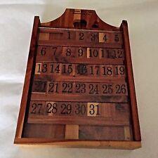 Vintage Wood Block Perpetual Wall Calendar 'California State Fair' w Plexiglass