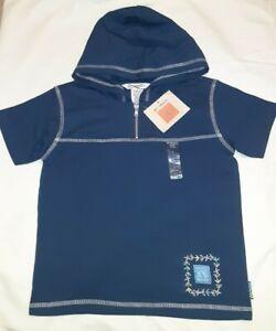 Gymboree Vintage 1999 Indigo Florals Blue Short Sleeve Hooded Top Sz L 4 5 Nwt