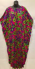 VTG Kamehameha Hawaiian Dress Muumuu Accordion Pleat Maxi Tie Dye No Size Tag
