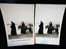 Peeps Into Many Lands No 7 Left & Right Cards Water Carrier NilePhotographic B/W