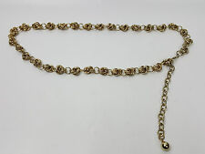 Metal chain hip belt knotted-look rings gold-tone