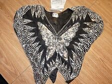 Vintage black & silver Butterfly TINA sequin & bead embellished Silk top