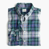 New J Crew Secret Wash Poplin Heather Shirt Long Sleeve Plaid Green Blue NWT